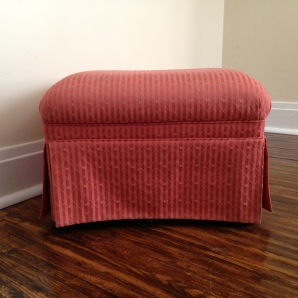 The original ottoman before reupholstery